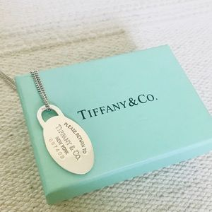 Tiffany & Co. Oval tag on silver necklace